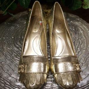 Gold Bandolino Loafer Heels